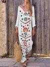 Beach Deep V Neck Printed Pattern Polyester Maxi Dresses (Style V100022)