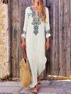 Beach Straight Deep V Neck Pattern Cotton Blends Maxi Dresses (Style V100024)