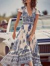 Sexy A-line Deep V Neck Pattern Polyester Boho Dresses (Style V100172)