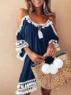 Cute Shift Off The Shoulder Tassel Polyester Mini Dresses (Style V100213)