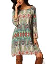 Bohemian Shift Boat Neck Printed Pattern Boho Dresses (Style V100217)