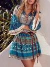 Bohemian Shift Notched Printed Chiffon Boho Dresses (Style V100220)