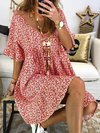 Cocoon Deep V Neck Printed Pattern Cotton Boho Dresses (Style V100240)
