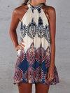 Beach Straight Halter Floral Pattern Boho Dresses (Style V100242)