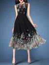 Basic A-line Printed Pattern Chiffon Midi Dresses (Style V100378)