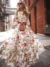 Beach Flowy Round Neck Printed Chiffon Maxi Dresses (Style V100384)