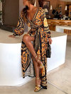 Beach Wrap Scarf Print Pattern Polyester Maxi Dresses (Style V100402)