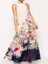 Beach Shift Straps Printed Chiffon Maxi Dresses (Style V100443)