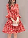 Elegant A-line V-neck Printed Pattern Casual Dresses (Style V100542)
