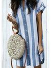 Shirt V-neck Striped Pattern Polyester Casual Dresses (Style V100554)