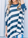 Round Neck Long Casual Striped Polyester Sweatshirts (Style V100595)