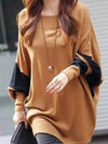 Round Neck Long Loose Fashion Cotton Blends Sweatshirts (Style V100597)