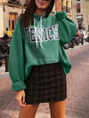 Hooded Fashion Letter Cotton Pockets Hoodie (Style V100598)