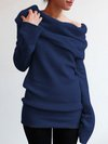 Off The Shoulder Long Slim Casual Plain Sweater (Style V101019)