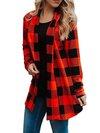 Shawl Collar Loose Western Plaid Polyester Coat (Style V101178)