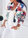 Short Straight Casual Floral Zipper Jacket (Style V101193)