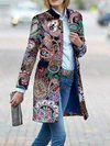 Stand Collar Slim Floral Polyester Pattern Coat (Style V101591)