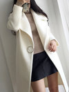 Shawl Collar Long Date Night Wool Button Coat (Style V101614)