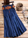Ankle Length A-line Slow Life Belt Denim Skirt (Style V101751)