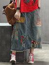 Ankle Length Loose Date Night Pockets Denim Skirt (Style V101753)