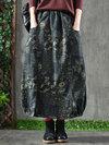 Ankle Length Lantern Slow Life Pattern Denim Skirt (Style V101760)