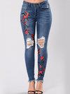 Ankle Length Skinny Sexy Denim Plants Jeans (Style V102079)