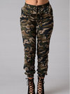 Maxi Skinny Button Denim Camouflage Jeans (Style V200032)
