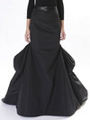 Maxi Fit and Flare Ruffle Cotton Blends Plain Skirt (Style V200049)