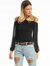 Standard Slim Plain Chiffon Patchwork T Shirt (Style V200076)