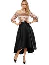 Ankle Length Asymmetrical Plain Skirt (Style V200118)