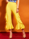 Maxi Slim Cascading Ruffle Polyester Plain Casual Pants (Style V200130)