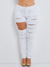 Maxi Skinny Cut Out Cotton Denim Fabric Plain Jeans (Style V200219)