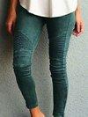 Patchwork Polyester Plain Leggings (Style V200237)