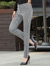 Maxi Slim Patchwork Cotton Blends Plaid Casual Pants (Style V200390)