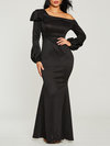 Trumpet One Shoulder Plain Backless Maxi Dresses (Style V200462)
