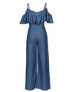 Maxi Loose Plain Denim Backless Jumpsuit (Style V200466)