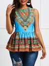 Round Neck Standard Slim Tribal Patchwork T Shirt (Style V200482)