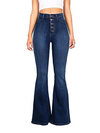 Maxi Slim Button Denim Plain Jeans (Style V200548)