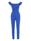 Maxi Skinny Plain Knitted Cascading Ruffle Jumpsuit (Style V200552)