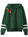 Hooded Standard Loose Striped Embroidered Hoodie (Style V200617)