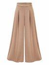 Ankle Length Loose Casual Ruffle Plain Casual Pants (Style V200731)