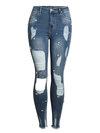 Maxi Skinny Hollow Out Denim Plain Jeans (Style V200881)