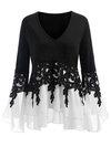V-neck Midi Loose Polyester Patchwork T Shirt (Style V201123)