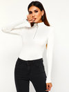 Stand Collar Casual Plain Knitted Zipper Sweater (Style V201150)
