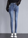 Ankle Length Date Night Button Denim Plain Jeans (Style V201809)