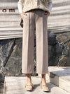 Mid-Calf Loose Elegant Pockets Polyester Pants (Style V201822)