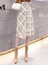 Asymmetrical Office Pattern Polyester Plaid Skirt (Style V201844)