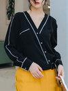 V-neck Standard Fashion Polyester Asymmetrical Blouse (Style V201946)