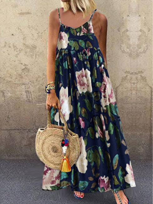 Bohemian Pleated Spaghetti Strap Floral Pattern Casual Dresses (Style V100111)