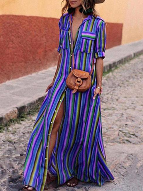 Bohemian Shirt Shawl Collar Striped Pattern Maxi Dresses (Style V100145)